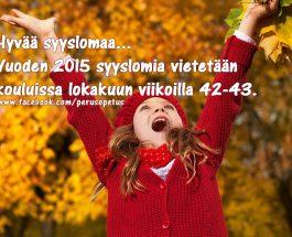 (11.10.2015) Syyslomaa vietetään kouluissa lokakuussa